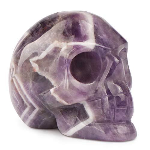 Artistone 2.0' Crystal Skull Statues, Gemstone Skull Healing Stones Hand Carved Fine Art Sculpture Reiki Healing Stone Statue(Amethyst)