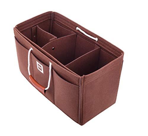 FFITIN Taschenorganizer Filz – Handtaschenorganizer mit Tragegriffen | Bag in Bag | XL Handtaschenordner (Chocolate Brown, XXL - XXLarge (37 x 17 x 17 cm))