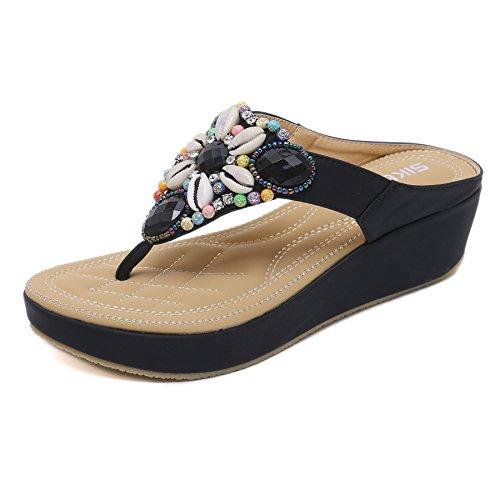 Sandali con Tacco a Zeppa Stile bohème da Donna Infradito Moda con Perline e Gemme Comode Pantofole Scarpe da Spiaggia per Donna Estate