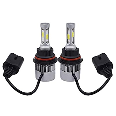 2 PCS HB5 9007 High Power COB Chipset 8000Lm 6500K Xenon White LED Headlight Bulbs for Replacing High Low Beam Halogen Headlamp All-in-One Conversion Kits