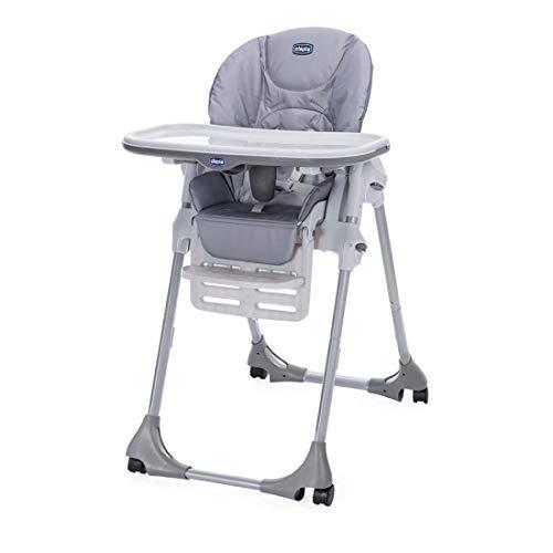 Chicco Polly Easy Chaise Haute Evolutive et Transat pour Bébés, Inclinable avec Hauteur et Repose-Pieds Réglables, 4 roues, Fermeture Compacte - de 6 mois à 3 ans (15 kg) - Nature