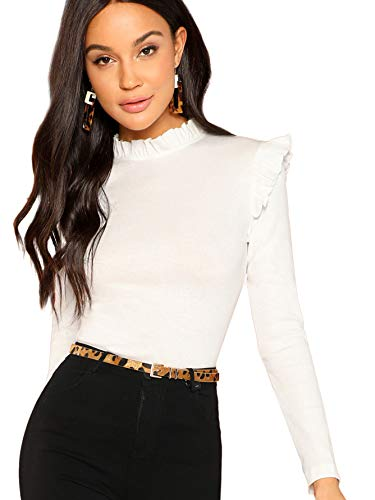 Romwe Women's Stand Collar Slim Fit Frilled Ruffles Shoulder Solid Keyhole Blouse Top (X-Large, White)