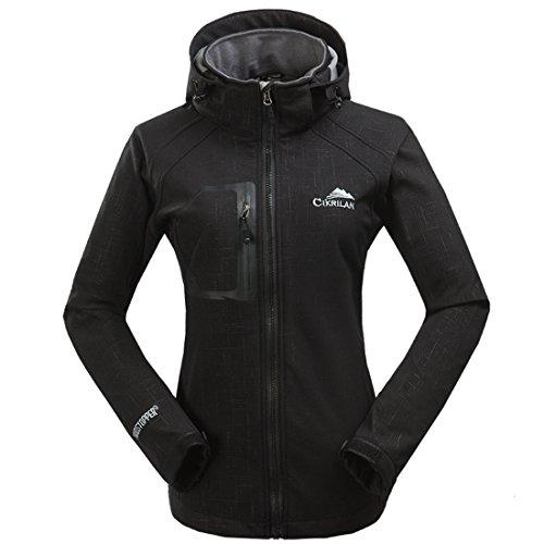 CIKRILAN Femme Imperméable Coupe-Vent Capuche Veste Softshell Outdoor Sport Camping Randonnée Trekking Manteau (Medium, Noir)