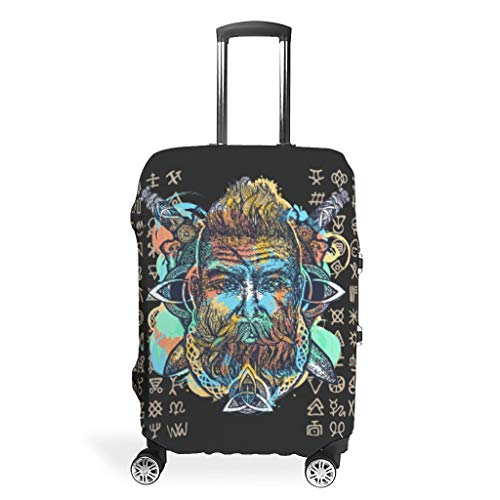 Travel Suitcase Covers - Viking Print 4 Sizes for Protection Luggage Case, White (White) - LIFOOST-XLXT