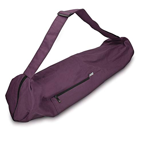 Navaris Bolsa XXL para Esterilla de Yoga de algodón - Bolso para Alfombrilla de Yoga con Cierre y Correa - Funda Grande de 72 x 29 CM - En púrpura