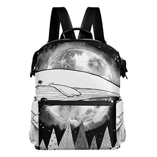 KIMDFACE Mochila,Ilustración de Trama Acuarela de Ballena voladora mágica,Bolsos para portátil Estampado Informal Estudiantes universitarios Viajes Senderismo Paquetes de Camping(29 * 16 * 38 cm)