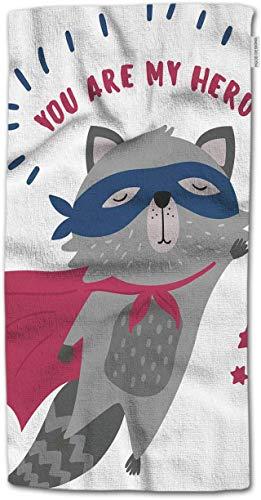 NHUXAYH Handtuch Tier, lustige süße Waschbär in Superhelden-Kostüm mit Zitat du bist Mein Held Handtuch 27,5