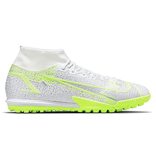 Nike Superfly 8 Academy TF, Scarpe da Calcio Unisex-Adulto, White/Black-Mtlc Silver-Volt-Volt, 45.5 EU