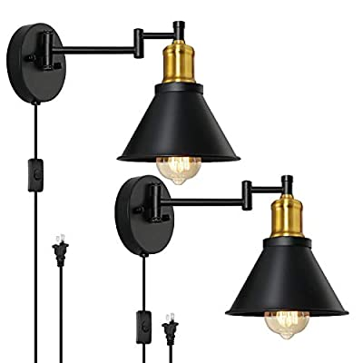 HAITRAL Wall Lamps Set of 2- Plug in Wall Lamps with Brass Finish & Switch, Plug-in Sconces& Hardwired Swing Arm Wall Lamps for Bedroom, Living Room, Dorm, Kitchen-Black
