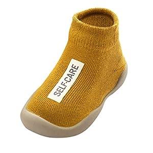 Calzado Casual Infantil Zapatos De Goma Antideslizantes Calcetines De Punto Zapatos De Casa OtoñO Botas Desnudas Zapatos para BebéS Y NiñOs ReciéN Nacidos Zapatos De Primer Paso(Amarillo,25EU)
