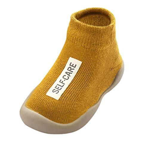 Calzado Casual Infantil Zapatos De Goma Antideslizantes Calcetines De Punto Zapatos Casa OtoñO Nuevas Botas Desnudas Zapatos para BebéS Y NiñOs ReciéN Nacidos Zapatos De Primer Paso(Amarillo,21EU)