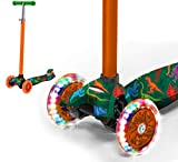 Rugged Racers Kick Scooter for Boys & Girls 3 Wheel Scooter, Adjustable Kick Scooter for Kids with PU LED Light Up Wheels, Step Brake, Lean 2 Turn, Ride on Toys for Children 5 Year Plus