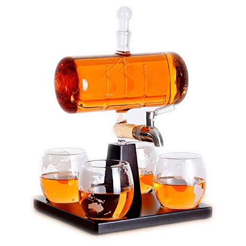 Decantador De Whisky, Juego De Decantador De Barril, Barril De 1100 Ml Con Grifo De Barco, Boquilla De Vidrio, Juego De 4 Vasos