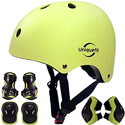 Kids Boys and Girls Protective Gear Set, Outdoor Sports Safety Equipment 7Pcs Child Helmet Knee &Elbow Pads Wrist Guards for Roller Scooter Skateboard Bicycle (Green, S(5-8years Old)) by UniqueFit