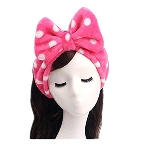 Demarkt Bowknot Stirnband Haarband Haarschmuck Haar Wrap für Make-up Gesichtsreinigung Gesichtspflege,Rot