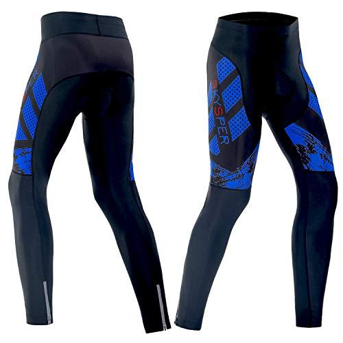 SKYSPER Pantaloni da Ciclismo Uomo Lunghi Traspiranti e ad Alta Densità con 3D Cuscino Imbottiti Gel Pantaloni da Ciclista per MTB Bici da Città da Corsa
