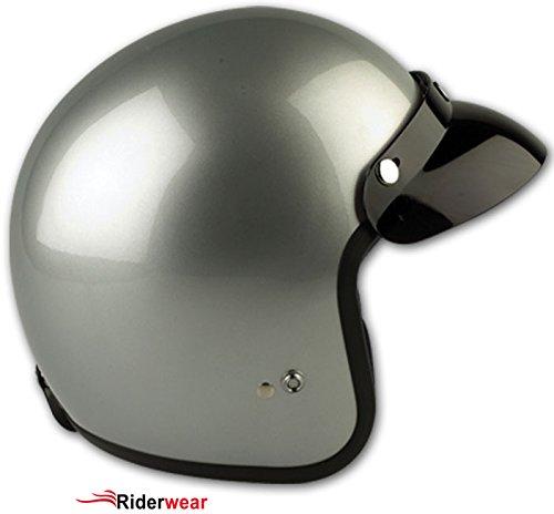 casque moto jet vintage scooter Touring Casque RS 04 Couleur Argent (XL, Argent)