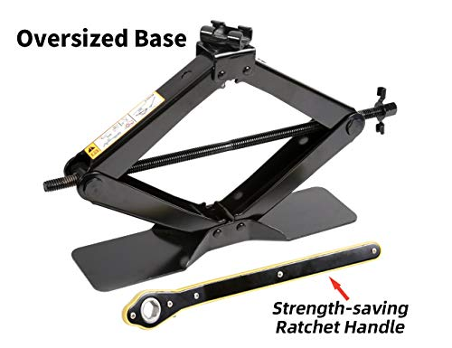LEADBRAND Black Steel Scissor Jack, 2.5 tons (5,511lbs) Capacity, with Ratchet Handle, Oversized Base