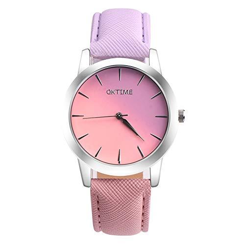 Chenhan Moda Mujeres Encantadoras Relojes Casual Caramelo Degradado de Color Damas Reloj de Cuero Cuarzo Estudiante Reloj para Mujeres (Color : 02)