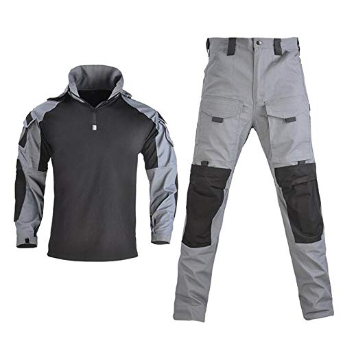 Summer Camouflage Suits, CS Uniforms for Outdoor Expansion Field Combat, Long-Sleeved Combat Training Uniforms, Suitable for Outdoor Expansion Training/Camping,Gray,L