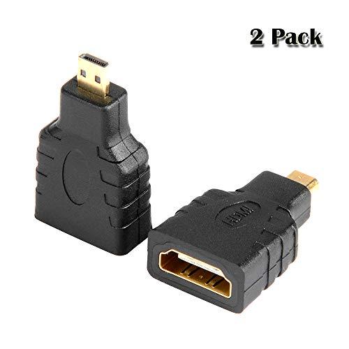 VMOJO 2X Micro HDMI auf HDMI Adapter | HDMI D-Type auf HDMI A-Type Adapter | HDMI-Standard 2.0, Digitalgeräten/Handy/Kamera Konverter Adapter bis zu 2160/1080 Full HD Vergoldete Kontakte