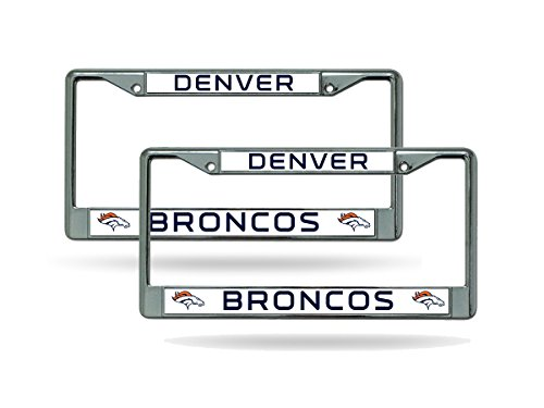 Rico Denver Broncos Chrome Metal (2) License Plate Frame Set