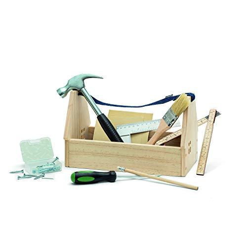 Micki 10217500 - Caja de herramientas infantil con asa, rellena, madera, 10 piezas, herramientas auténticas, tamaño pequeño, diseño Swedish