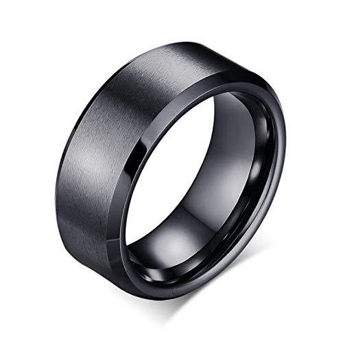 Sailormjy Ring voor heren, zwart wolfraamstaal, punk, voor mannen en vrouwen diameter 17.3mm zwart
