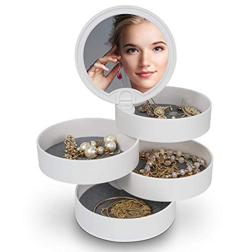 MOSRACY Schmuckkästchen 4 lagige 360° aus drehbare weißem Schmuckaufbewahrung, geeignet für die Aufbewahrung von weiblichen Ohrringen Halsketten Ringe Armbänder Haarseil Haarnadel Lippenstift