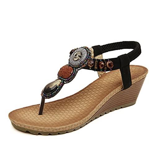 ASKI Sandalias de mujer estilo étnico verano playa playa playa bohemia retro cuentas pendiente con adelgazar chanclas tamaño grande zapatos (41, A)