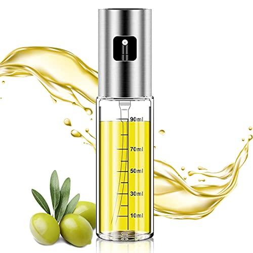 Oil Sprayer for Cooking - 100ml Olive Oil Sprayer for Kitchen, Stainless Steel Glass Oil Sprayer, Oil Spray Bottle for BBQ, Salad, Grilling, Roasting, Baking