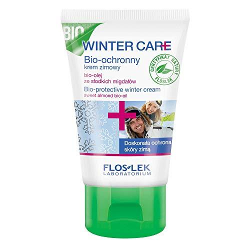 FLOSLEK Winter Bio-Schützende Creme mit Mandelmilch | 50 ml | Wirksamer Schutz vor Wind, Feuchtigkeit und Frost | Gesicht, Dekollete und Hand-Pflege | Für Menschen jeden Alters | Ideal für Skiausflüge