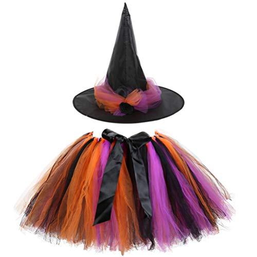 KESYOO Niña Falda de Bruja de Halloween Tutu Falda de Ballet de Tul en Capas Vestido con Sombrero de Bruja Disfraz de Cosplay de Halloween - Talla S