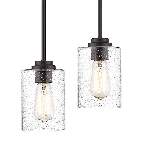 Beionxii Glass Pendant Light   Farmhouse Mini Pendant Lighting for Kitchen Island Dining Room Over The Sink, Oil Rubbed Bronze with Bubble Glass - Set of 2