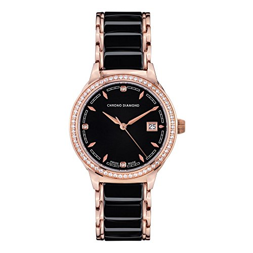 10410B Chrono Diamond Thyrsa Rosegold IP Keramik Schwarz
