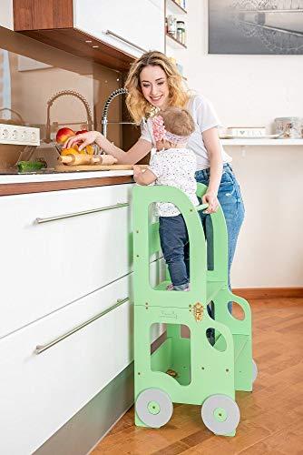 Toddler in Family Torre de Aprendizaje/Escritorio y Taburete Montessori (Verde) (Cocina)