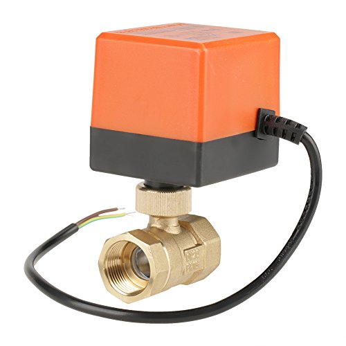 Brass Motorized Ball Valve,G3/4' DN20 Brass Motorized Valve 2 Port/Zone Valve(AC 220V Wires Control Electric Ball Valve) for Air Conditioner