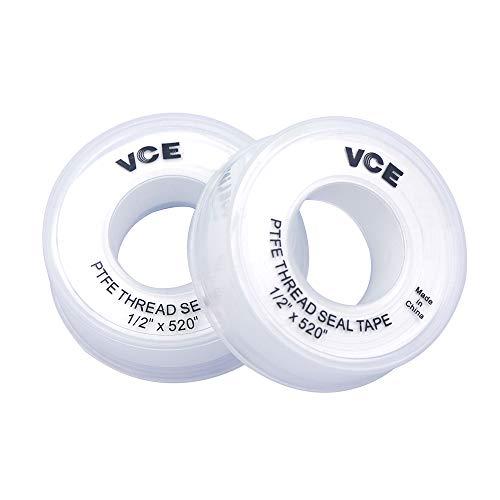 VCE 2 Stück PTFE Dichtband PTFE Band Gewinde Dichtungsband Teflonband Gewindedichtband PTFE Tape, 12mm 13m, weiß