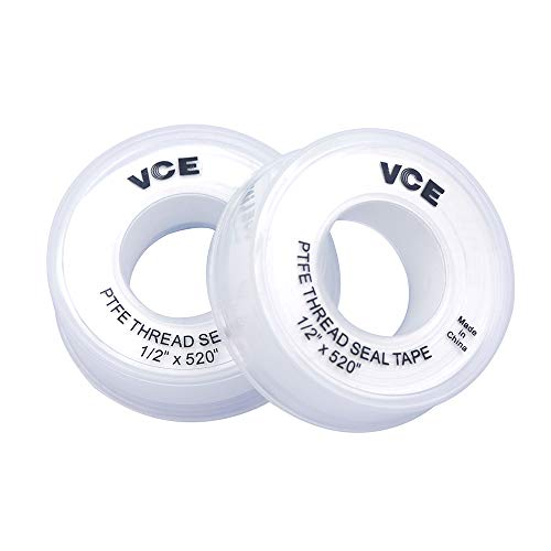 VCE 2 Piezas Cinta de sellado de PTFE Cinta de sellado de PTFE Cinta de sellado Cinta de sellado de teflón, 1/2 pulgada x 520 pulgadas, blanco
