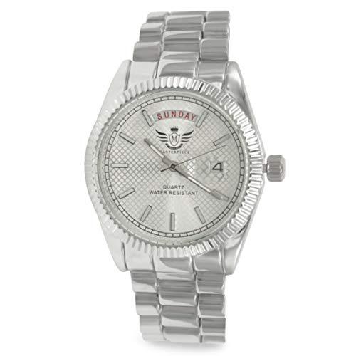 Día/fecha de plata clásico reloj de estilo ejecutivo para hombre