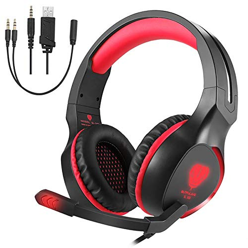 GARUNK Stereo Gaming Headset for PS4, Xbox One, Nintendo Switch, 3.5mm Wired Bass Noise Cancelling Over-Ear Headphones with Mic, LED Lights and Volume Control for Laptop PC Mac iPad Games, Blue
