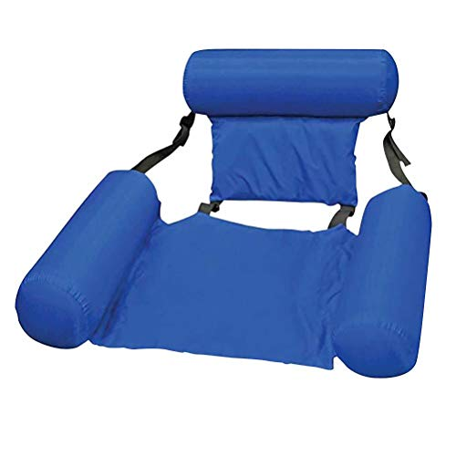 N-A Foldable Backrest Float Row, Float U-Seating,Inflatable Swimming Pool Float Lounge, Water Play Lounge Chair Floating Bed Sofa, Pool Chair for Adults Weights Under 200 Kg with Air Pump - Blue