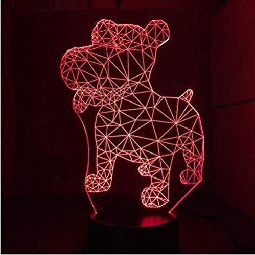 A-Generic Luz Nocturna New Dog Illusion Lámpara de Mesa táctil 3D 7 Colores Luz LED Intermitente para decoración navideña y Regalo para niños
