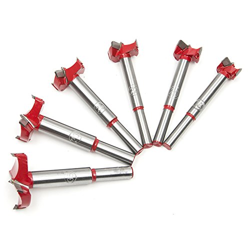 Drill Bit Set, 6Pcs 16mm-35mm Carbon High Speed Steel Woodworking Hole Saw Set Auger Opener Drilling Wood Plastic Plywood with Round Shank