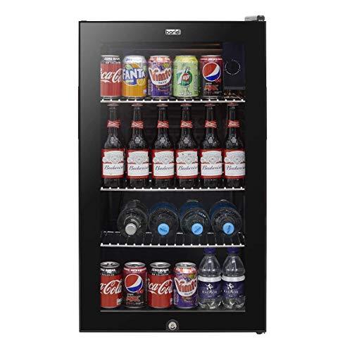 Baridi Under Counter Wine/Drink/Beverage Cooler/Fridge, Built-In Thermostat, Light, Security Lock, 80 Litre – Black
