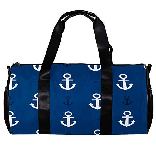 Bolsa de deporte redonda con correa de hombro desmontable con ancla náutica de entrenamiento para mujeres y hombres