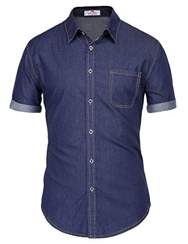 PAUL JONES Men's Denim Dress Shirt for Men Buisness Casual Shirt Denim...