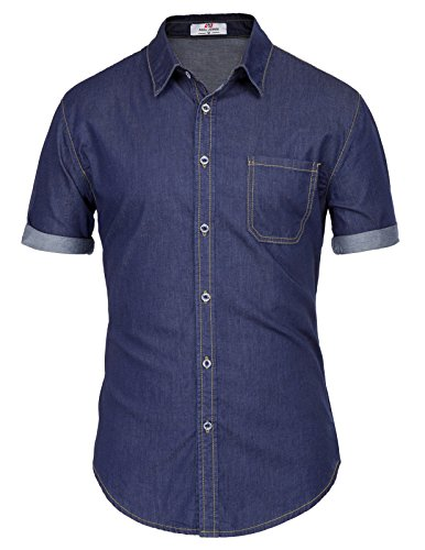 PAUL JONES Men's Denim Dress Shirt for Men Buisness Casual Shirt Denim...