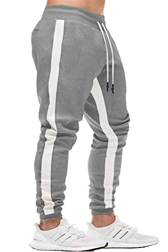 FASKUNOIE Men's Track Pants Gym Workout Close Bottom Baseball Soccer Pants with Pockets Light Gray