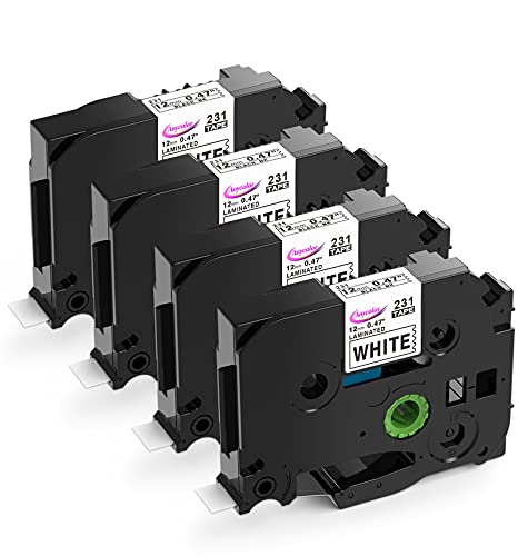Anycolor Compatible Label Maker Tape 12mm 0.47 inch Laminated Tape TZe-231 TZ-231 TZe231 Black on White for P-Touch TZe Label Maker D210 H110 D600 D400 1880 1280 D200 H100, 4-Pack